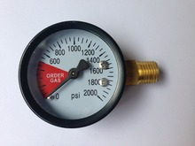 High Pressure Regulator Gauge, 0 ~ 2000 PSI, Right Hand Thread - 1/4NPT, Co2 Replacement