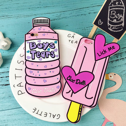 "3D Silicon Ice Cream ""Lick me"" Bottle ""Boy Tears"" Phone Case For Coque Iphone 5 5s SE 6 6s 6plus 6splus 4.7/5.5 Rubber Covers"