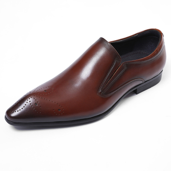 Fashion Deep Brown / Black Pointed Toe Prom Shoes Boys Dress Shoes Genuine Leather Wedding Shoes Male Business Shoes