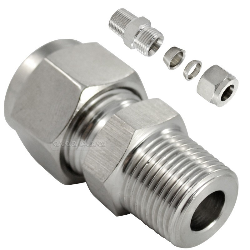 Compression Double Ferrule Tube Air Compression Fitting Connector Stainless Steel 304 1pt male thread x 22mm 25mm 25 4mm 1 od double ferrule tube air compression pipe fitting connector 304 stainless steel bspt
