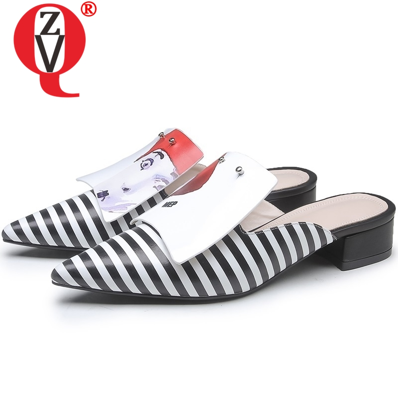 ZVQ mode pantoufles femmes chaussures bout pointu en cuir véritable 3.5 cm talons sandales nouveau style femme mules marque chaussures d'été 2019