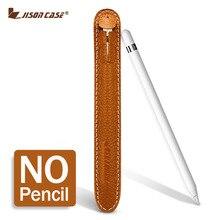 Jisoncase tablet stylus pen bolsas de lápiz de cuero genuino de la bolsa de la manga para apple protector case cubierta antidetonante bolsa para ipad pro
