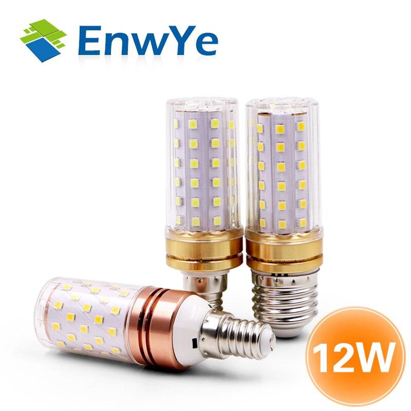 EnwYe E27 LED Lamp E14 LED Bulb True Power 9W 12W SMD2835 220V Corn Bulb Chandelier Candle LED Light For Home Decoration