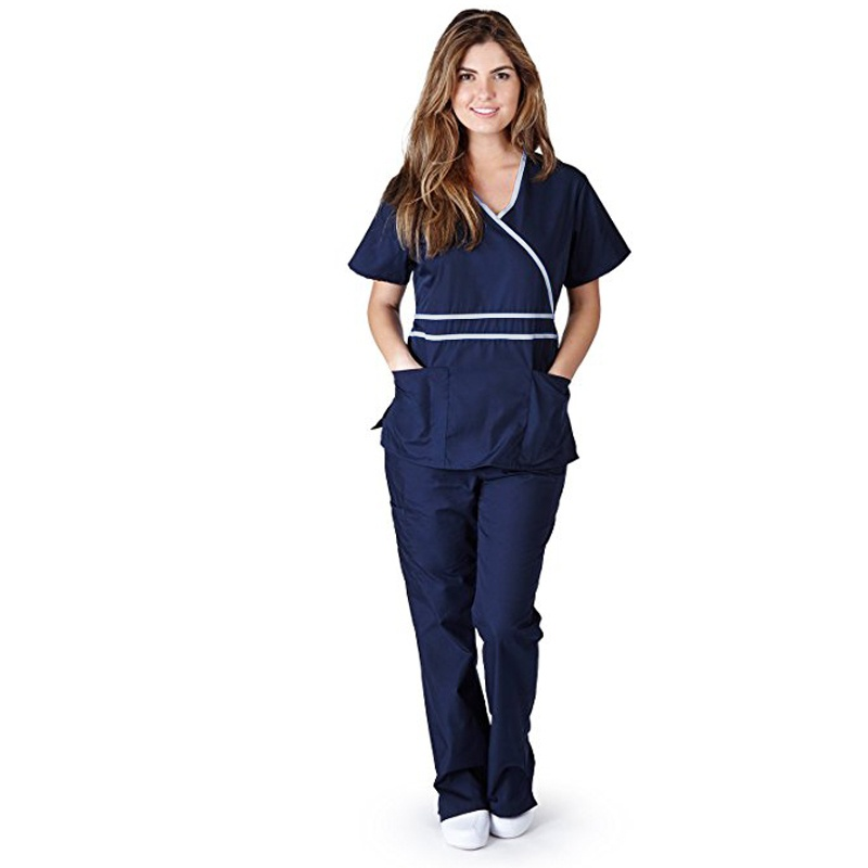 Creative Love Shadow Women's Fashion Scrub Set Medical Uniforms Mock-wrap Top With Adjustable Back Tie Doctor Clothes Nurse Uniforms