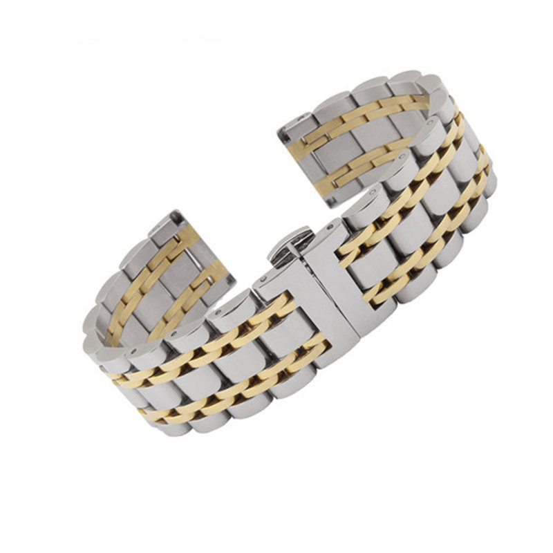 14 16 18 19 20 21 22 24 26mm Silver Two Tone 316L Solid Stainless Steel Bracelet Watch Band For Rolex Tissot Tudor Omega Panerai(China)
