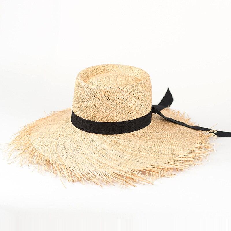 Chapeau D'été Femmes De Paille chapeau cloche 2018 Mode Plage chapeaux de soleil chapeaux panama avec Bords Effilochés 681002