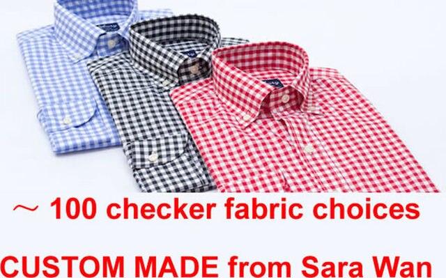 Buy mens gingham dress shirt custom made for Men s red gingham dress shirt