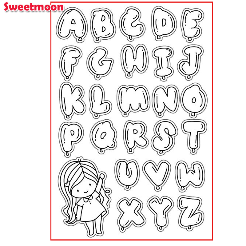 CUTE GIRL WITH BUBBLE ALPHABET Scrapbook DIY photo cards account rubber stamp clear stamp transparent stamp card SWEETMOON lovely animals and ballon design transparent clear silicone stamp for diy scrapbooking photo album clear stamp cl 278