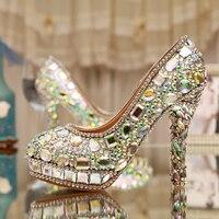 AB 크리스탈 하이힐 럭셔리 다이아몬드 플랫폼 신부 결혼식 신발 펌프 레이디 반짝 댄스 파티 신발 신부 신발