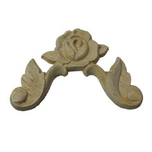 Furniture Craft Unpainte Carving Wood Decoration Wood Furniture Wooden Applique Decal Corner Onlay Applique Frame for Home Decor dongyang wood carving applique motif wood shavings corner flower fashion solid wood furniture smd background wall ceiling home