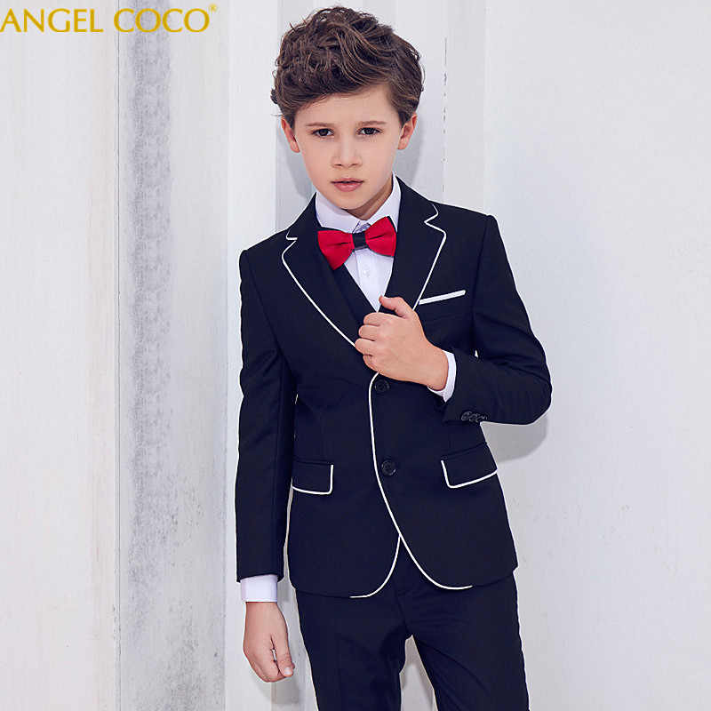 5 Pieces Boys Formal Suit Boys Suit For Wedding Costume Suits England Style Boys Prom Vest Blazer Suit Children Clothing Menino england style slim fit suit black size l