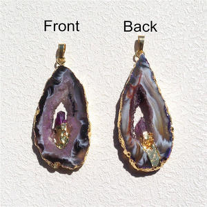 Image 4 - FUWO Natural Geode Slice Pendant 24K Gold Electroplated Raw Crystal With Fixed Purple Quartz Charm Jewelry Wholesale PD083