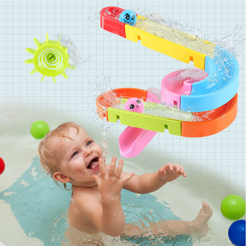 QWZ New Suction Cup Orbits Track Bath Toys Kids Bathroom Bathtub Toys Water Games Toys Shower Games Swimming Pool Waterfall Toys
