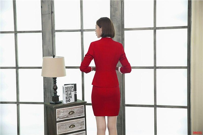 Ensembles Blazer Work Dames Formelle D'affaires Rouge Wear Veste Costumes Bureau Et La Jupe Conception Femmes Styles Avec De Uniforme pwv55WqH