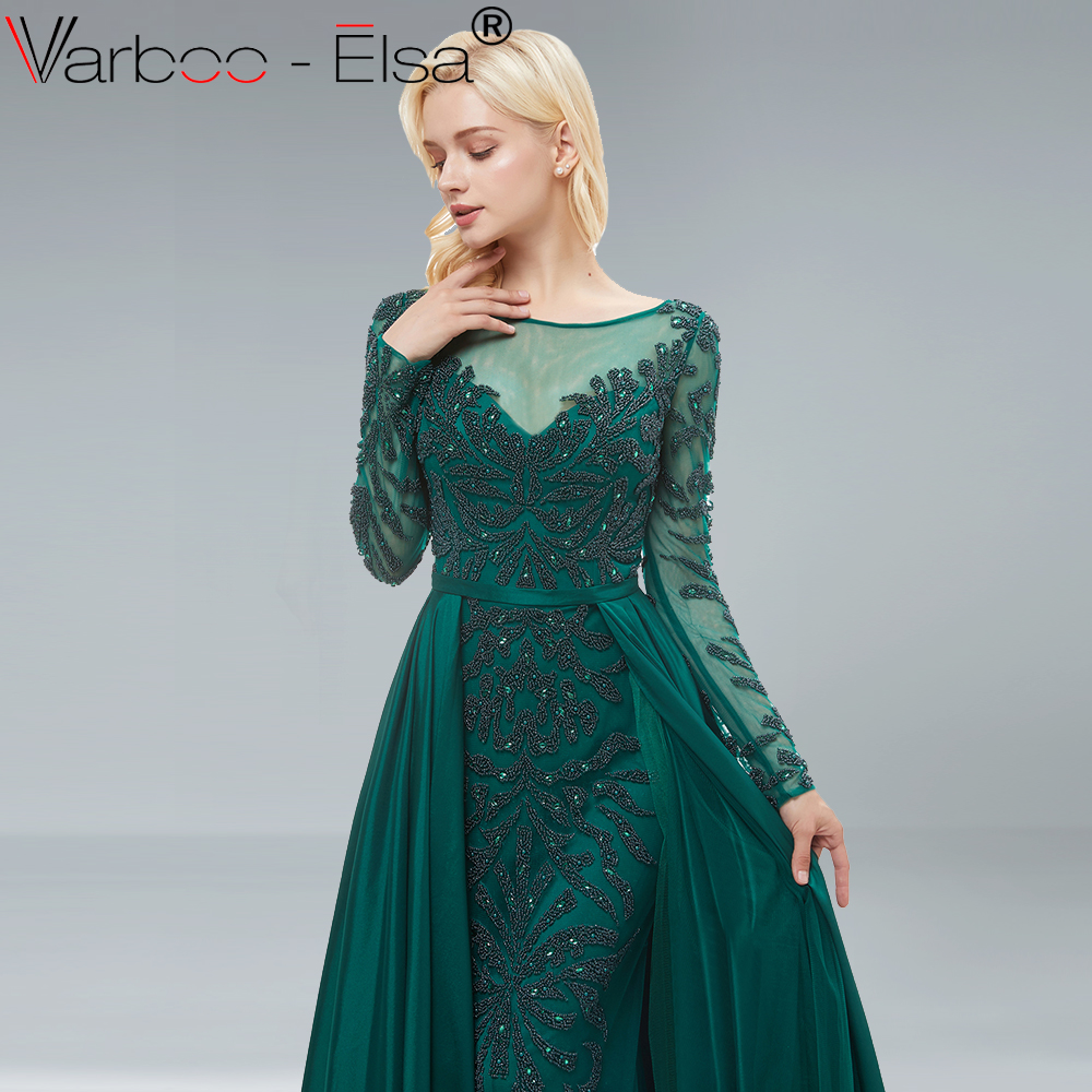 VARBOO ELSA Dark green Beading Luxury Evening Dress A Line Long Sleeve With Train  Evening Dress 2018 long prom dress Real Photo-in Prom Dresses from ... c50d5680634a
