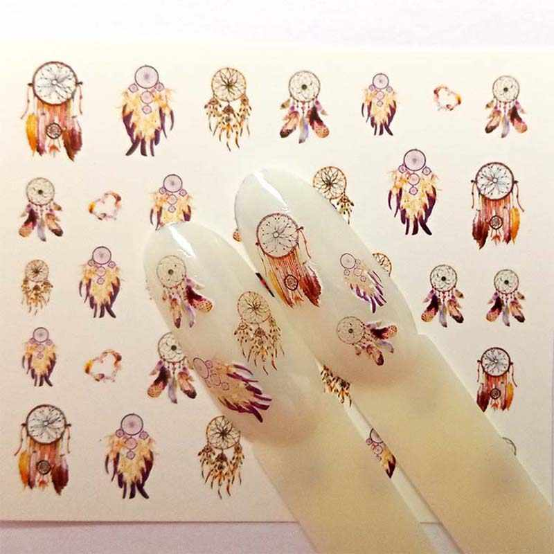 4 Designs Nail Sticker Set Dreamcather Feather Decal Water Transfer Slider For Nails Art Decor B49/B50/B51/B52