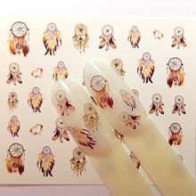4 disegni Nail Sticker Set Dreamcather Piuma Della Decalcomania di Trasferimento Dell'acqua Cursore Per Le Unghie Art Decor B49/B50/B51 /B52(China)
