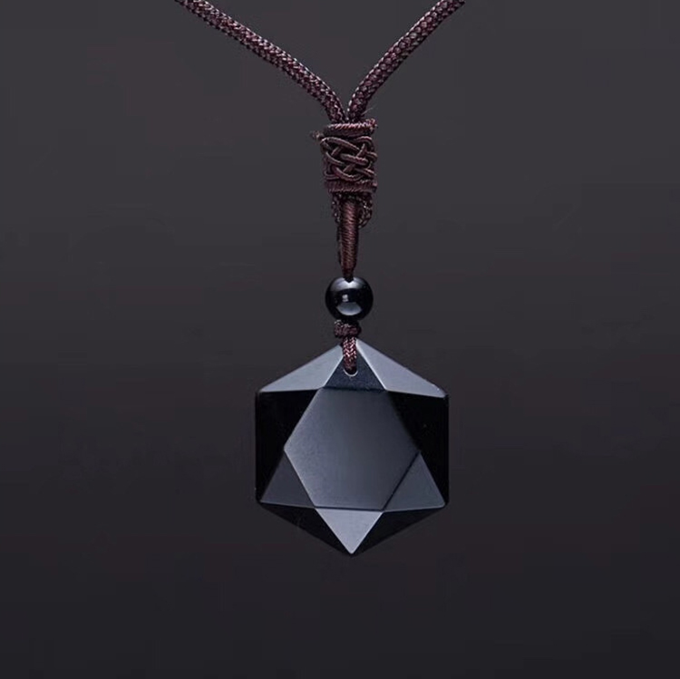 Модное ожерелье ZRM из черного обсидиана, подвеска в виде звезды обсидиана, ювелирные изделия со стразами на удачу и любовью с бесплатной вер...