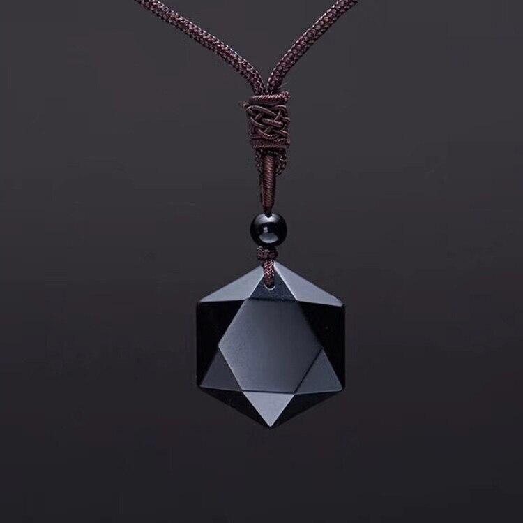 Модное ожерелье ZRM из черного обсидиана, подвеска в виде звезды обсидиана, ювелирные изделия со стразами на удачу и любовью с бесплатной веревкой, Прямая поставка