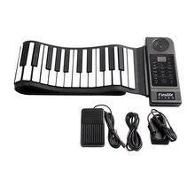 Portable Flexible Folding Keyboard Piano 88 Keys 128 Tones Digital Electronic Organ Roll Up MIDI Piano Built-in Speaker for Kids
