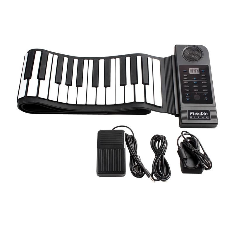 Portable Flexible pliant clavier Piano 88 touches 128 tons numérique électronique orgue retrousser MIDI Piano haut-parleur intégré pour les enfants