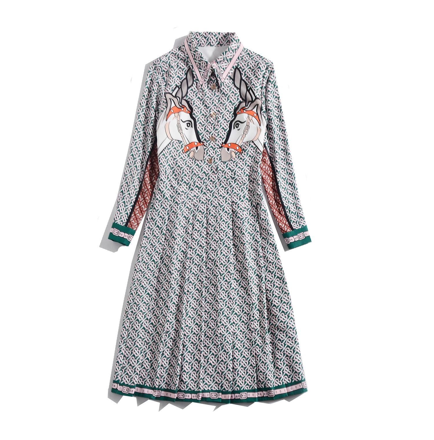 2019 printemps automne femme robe revers à manches longues mode Long cheval imprimé longue plissée dames robe n15