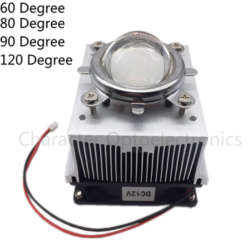 LED Heatsink Cooling Radiator + 60 <font><b>90</b></font> <font><b>120</b></font> Degrees Lenes + <font><b>Reflector</b></font> Bracket + Fans For High Power 20W 30W 50W 100W LED image
