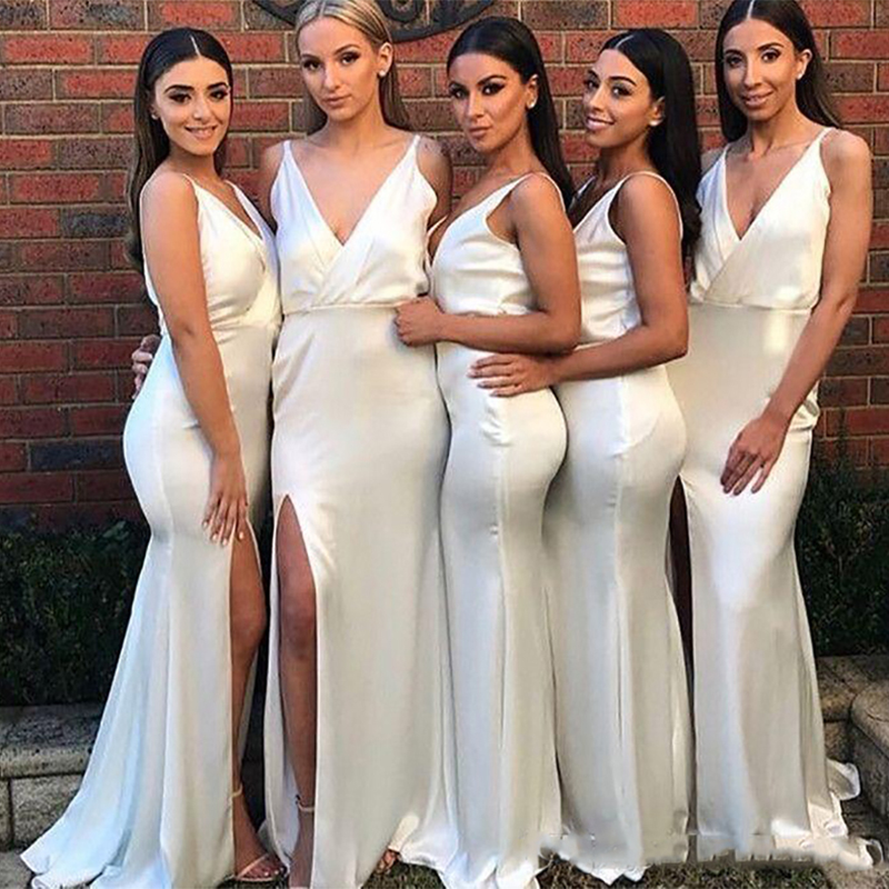 2019 New Simple Spaghetti Ivory Long Mermaid   Bridesmaid     Dresses   Sexy V Neck Split Side Floor Length Formal Wedding Party   Dress