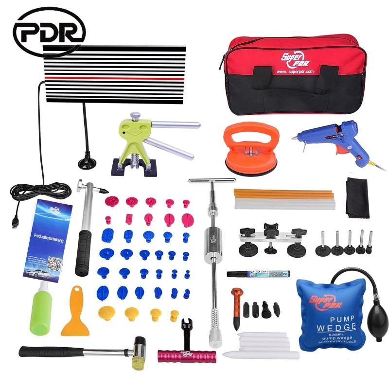 PDR Tools Paintless Dent Repair Tools Car Body Repair Kit Dent Removal LED Lamp Dent Lifter Tool Set
