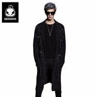 GENANX бренд мужской свитер пальто человек умный повседневная одежда Свободные нагрудные с длинным Трикотажный кардиган Размеры M XXL