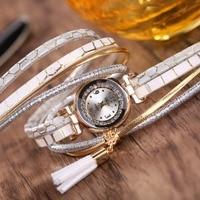 Fashion Women Ladies Leather Diamond Bracelet Watch 2017 Wholesale Girls Fringe Tassel Pendant Dress Quartz Watches