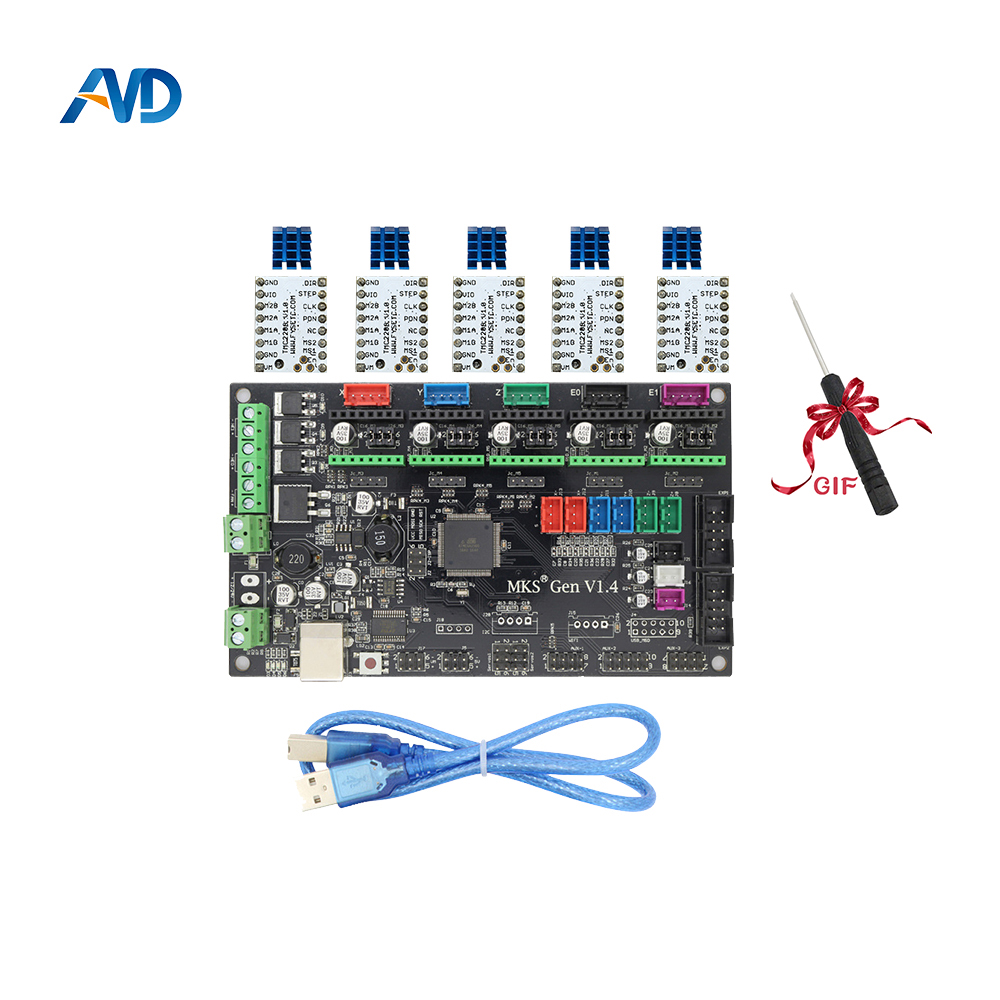 MKS Gen V1.4 control board Mega 2560 R3 motherboard RepRap Ramps1.4 compatible with USB and 5PCS TMC2208 3D Printer 3d printer motherboard mks v2 2 robin stm32 integrated board stm32 development board with touch screen