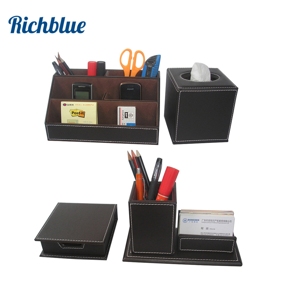 Ever Perfect 4Pcs/Set Study Desk Stationery Accessories Organizer Pen Holder Mouse Pad Note Case Roll Tissue Box T42