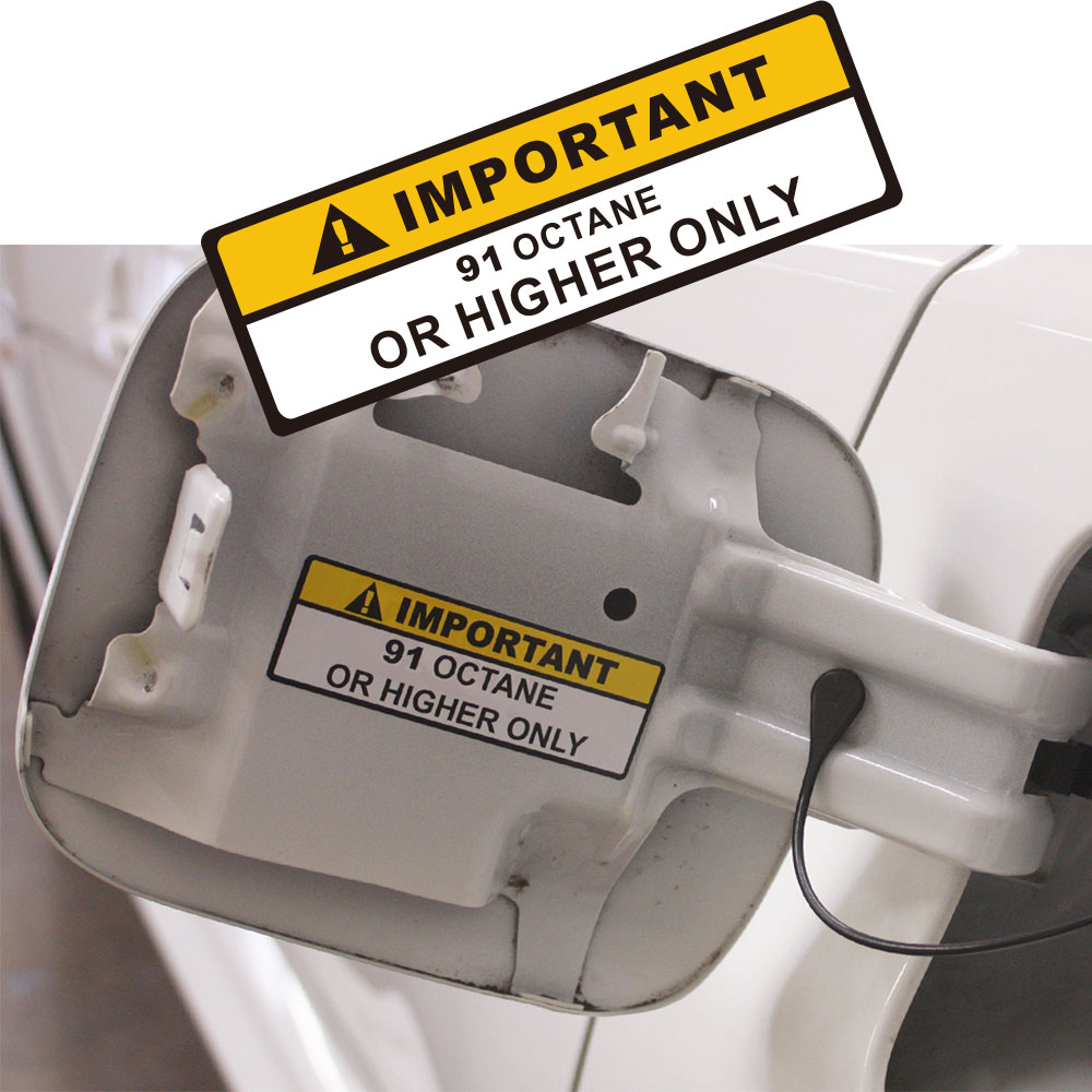 Warning Label 91+ Or Higher Octane Gas Gasoline Fuel Tank Sticker Decal Car Sticker