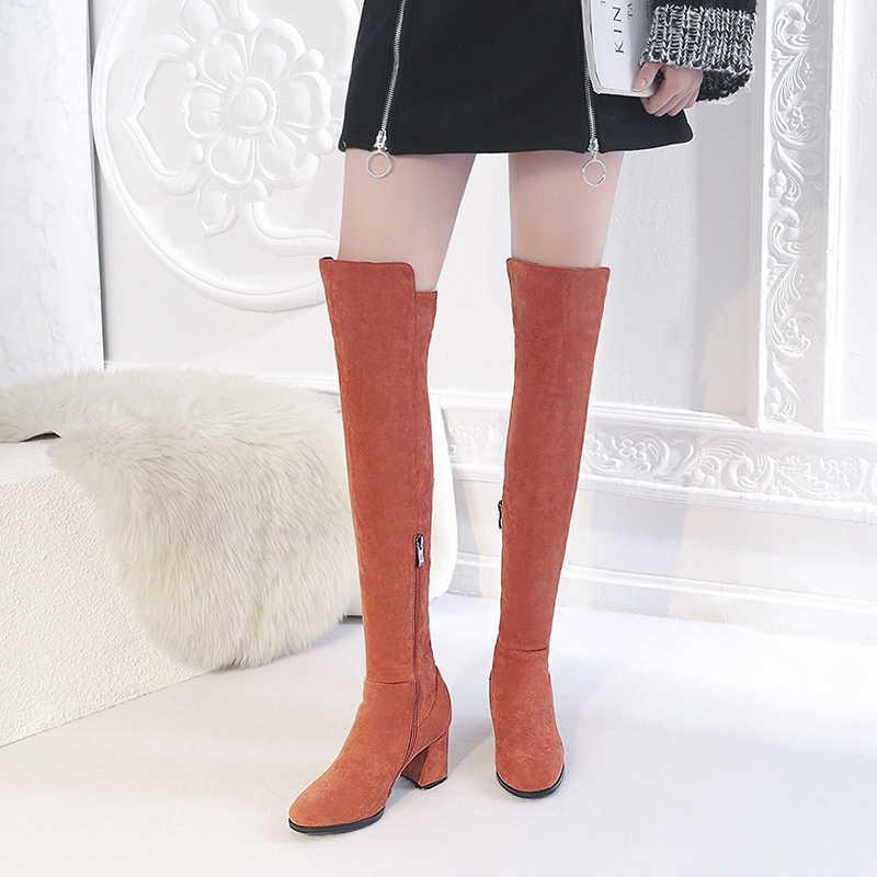 REAVE แมวแฟชั่นผู้หญิงสีดำสีเทาหนังนิ่มเข่าฤดูหนาวสูงรองเท้ารอบนิ้วเท้าส้นหนารองเท้าผู้หญิงยาวคุณภาพสูง botas A1132
