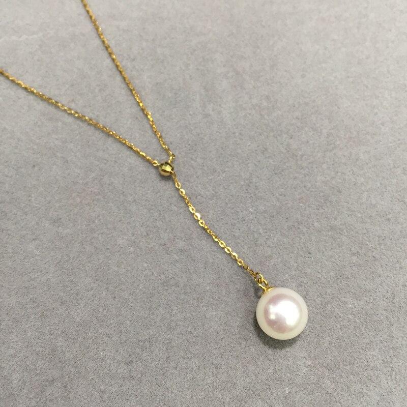 9-10MM přírodní mořská voda perlový přívěsek náhrdelník 18K žluté zlato nastavitelné perfektní kulaté jemné šperky akoya perla doprava zdarma