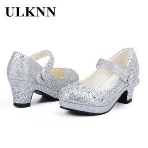 Image 4 - ULKNN Children Princess Shoes for Girls Sandals High Heel Glitter Shiny Rhinestone Enfants Fille Female Party Dress Shoes