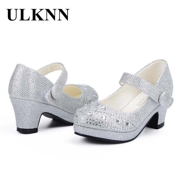 467bcbfafb US $14.21 30% OFF|ULKNN Children Princess Shoes for Girls Sandals High Heel  Glitter Shiny Rhinestone Enfants Fille Female Party Dress Shoes-in Sandals  ...