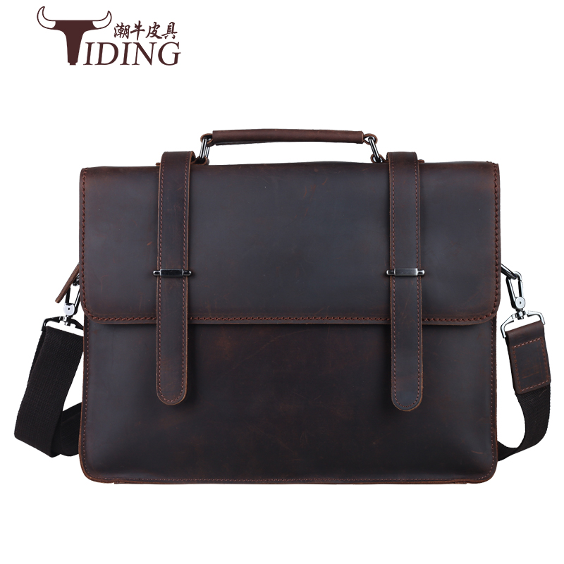 men's briefcase cow leather 2017 new business man fashion brand brown casual dress vintage real leather handbag laptop bags men briefcase cow leather 2017 new brand man fashion brown cover business dress casual vintage handbags genuine leather bags