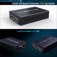 Новый HDBaseT HDMI удлинитель по cat5e/6 кабель HDMI удлинитель ИК управления HDMI 1.4 В до 70 м 3D 4 К x 2 К с 12 В адаптер питания