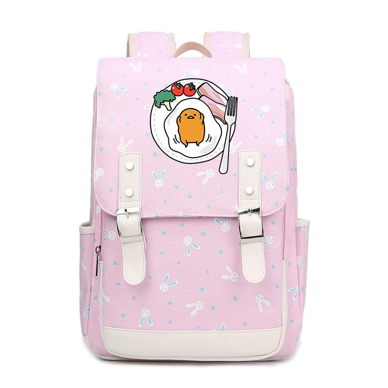 0ea031735537 Summer Style Rabbits Kawaii Lazy Gudetama Printing Backpack Canvas School  Bags for Teenage Girls Laptop Backpack Travel Bags