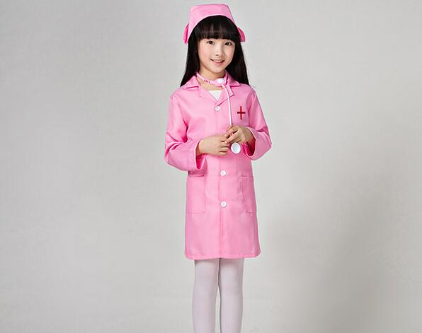 Halloween Cosplay Costume 90-160cm Children Kid Doctor Costume Nurse Uniform Girls With Hat +Mask birthday gift