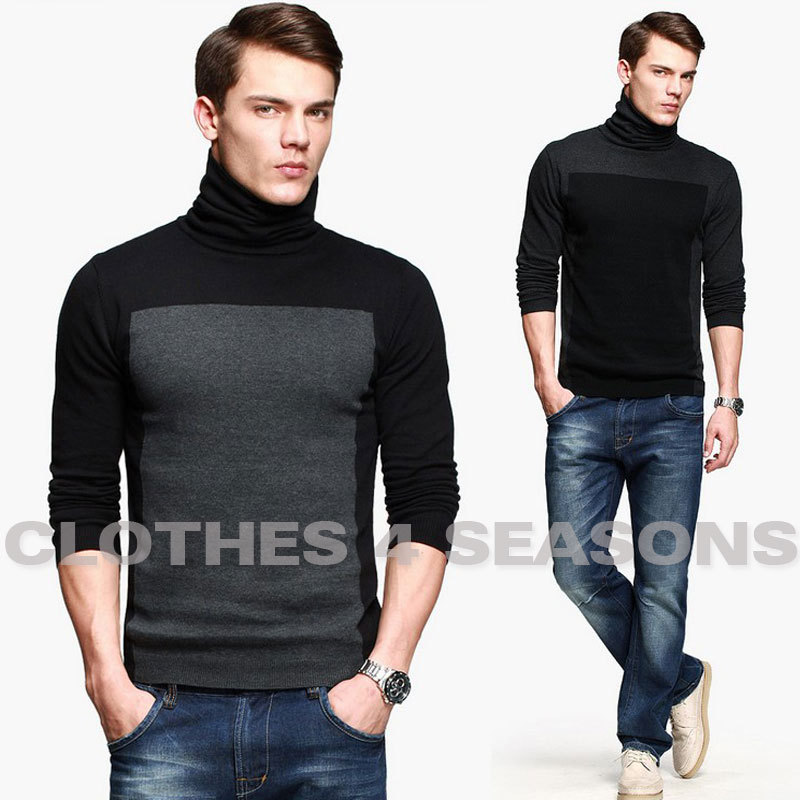 Free Shipping Men's Sweater Thin Pullovers Color Block Long Sleeve ...