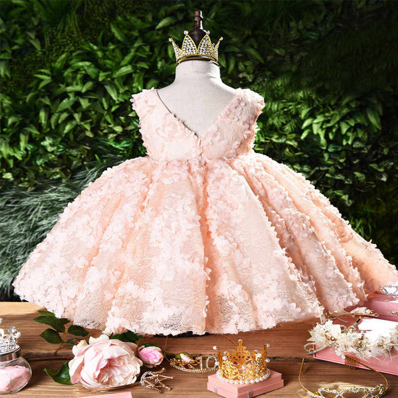 Girl Dress Baptismal dress for infant Pink petal elegant Flower Girls Wedding Dresses tutu princess Baby Girl Dress