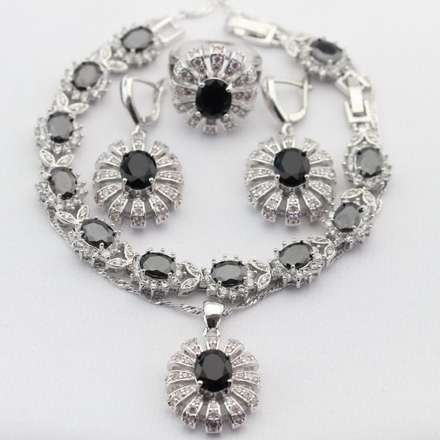 Encantos Redondos de Color Plata Mujeres Juegos de Joyería Negro Creado Zafiro Collar de Gota Colgante Pendientes Anillos Pulsera de Regalo de Navidad