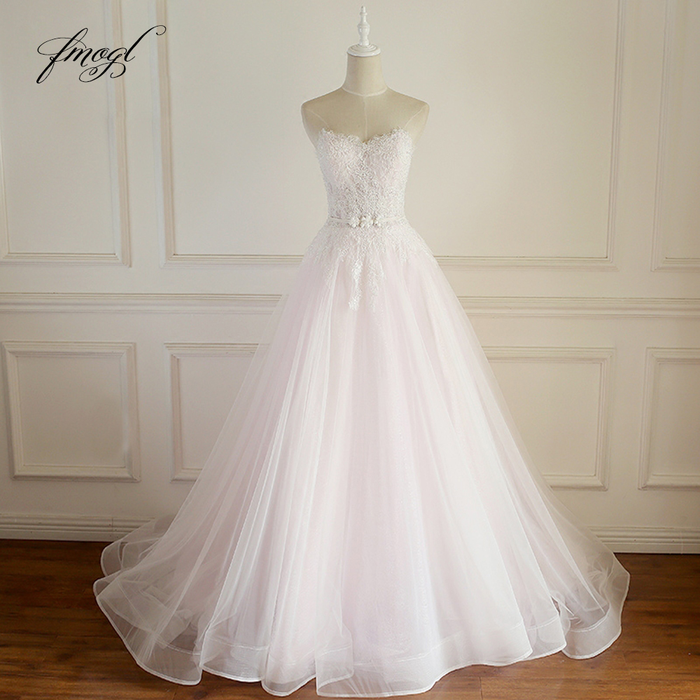 Fmogl Vestido De Noiva Strapless Lace Wedding Dress 2019 Sexy Backless Flowers Sashes Beaded A Line Bridal Gown Plus Size