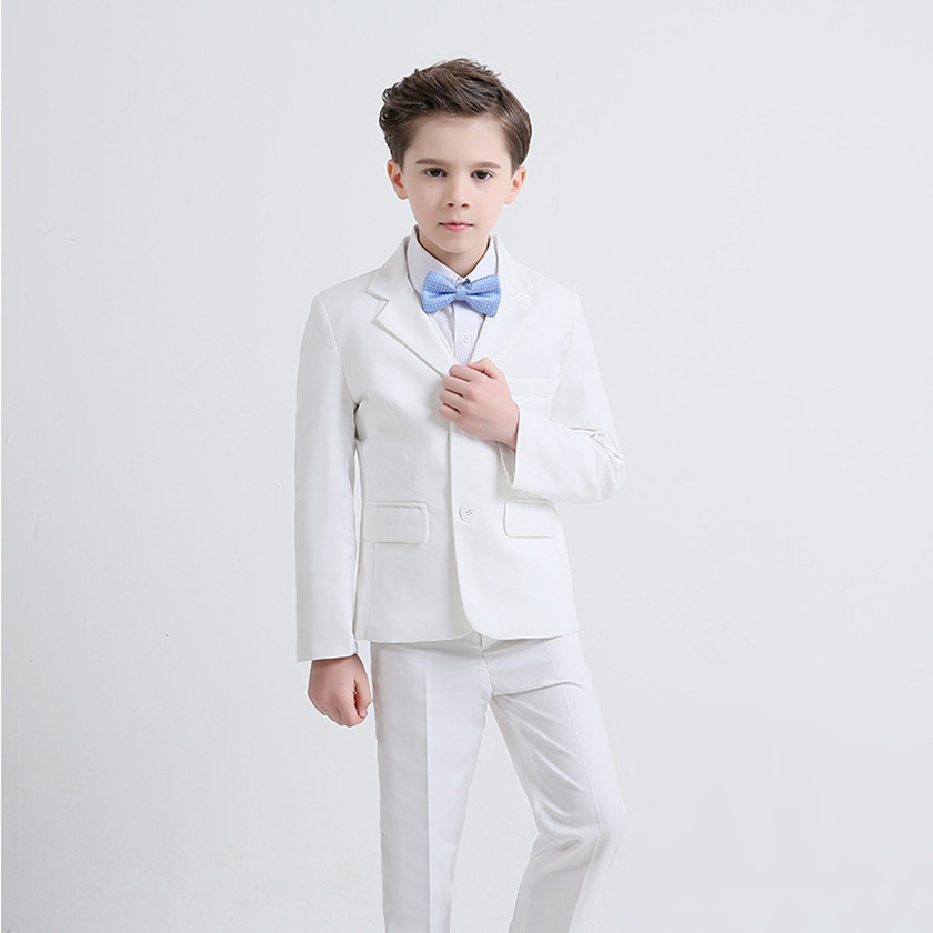 купить baby boys suit kids blazer 2018 new fashion white boy suit for wedding prom formal spring autumn wedding dress boy suits S86604A по цене 6799.75 рублей