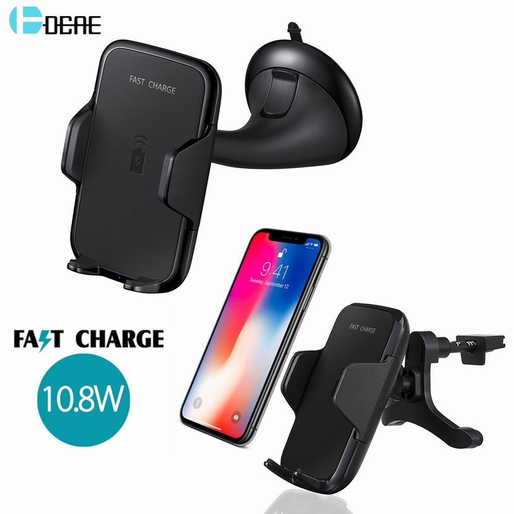 DCAE Car Mount 10.8W Fast Qi Wireless Charger Charging Pad for iPhone X 8 8 Plus Samsung S8 S7 S6 Note 8 Car Suction Mount Stand