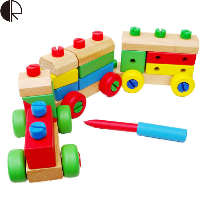 2017 Hot Sale Children's Educational Building Blocks Toys Three Removable Wooden Train Set Toy Blocks Train Wooden Toys HT2379 hot sale ir educational interactive digital whiteboard
