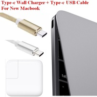 USB 3.1 Type C Wall Charger USB-C Power Adapter with Charge Cable for Macbook 12